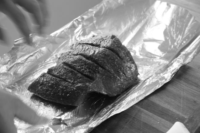 moose roast wrapped in foil