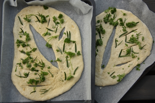 fougasse ready for the oven