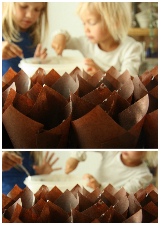 making muffins collage
