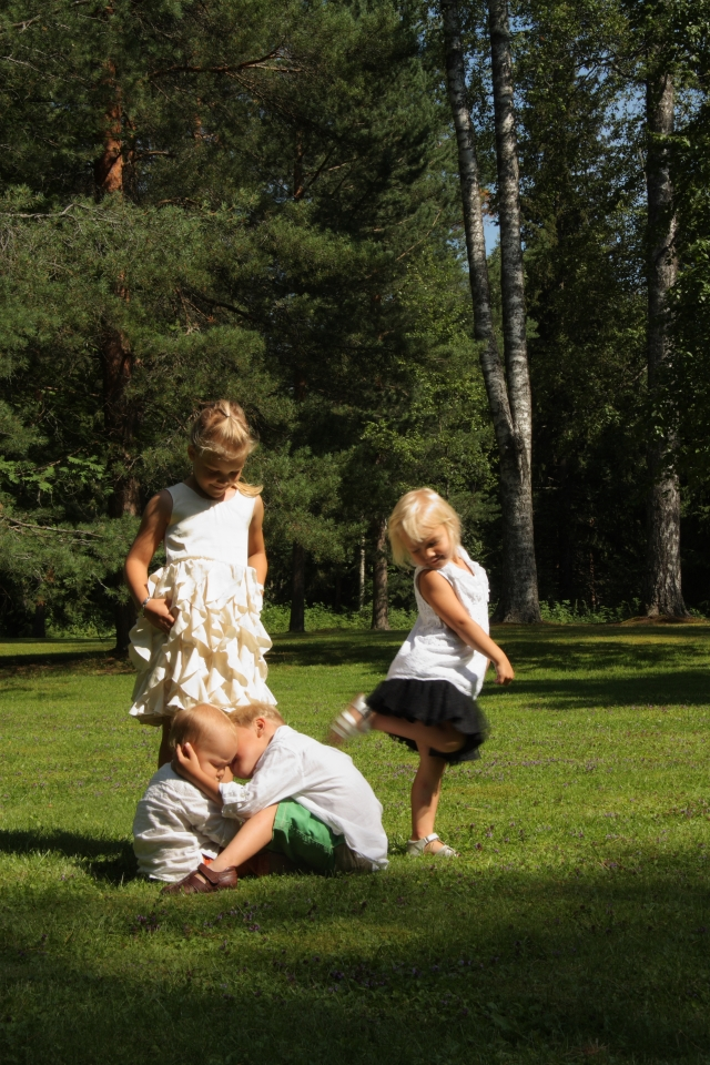 playing on the church yard