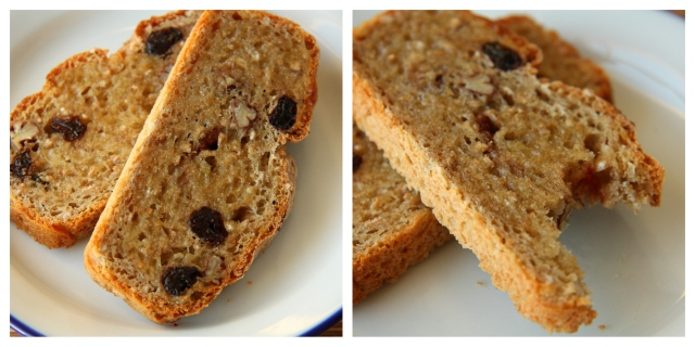 bread with sour cherries, pecans, spelt  and buckwheat