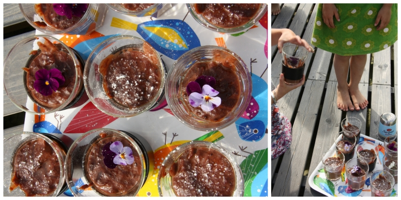 homemade chocolate pudding collage