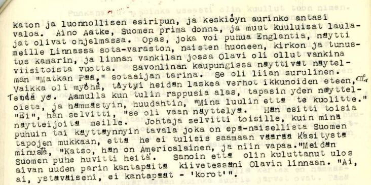 Aunt Elma's experiences 1930s