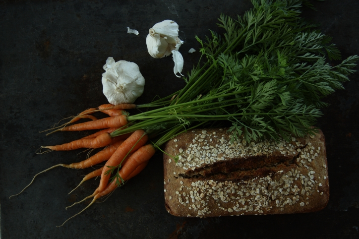 garden fresh carrots and sourdough bread