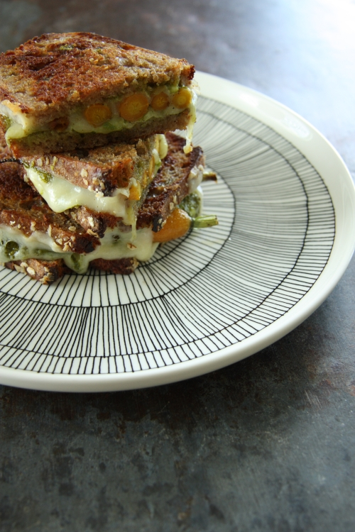 roasted carrot and carrot top pesto sandwich