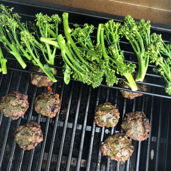 chimichurri burgers on the grill